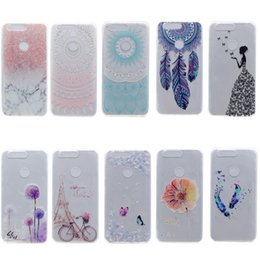 Wholesale Tower Mobile Cover - Transparent TPU Cover For Huawei Honor 8 Case Colour decoration Tower bike Butterfly Girl Feather Design Mobile Phone Case