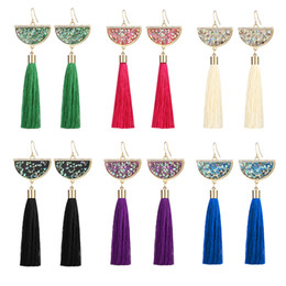 Wholesale Long Womens Earrings - Fashion Fringe Unique Tassel Earring For Womens Rhinestone Colorful Prom Pendants Long Post Ladies Earrings With High Quality