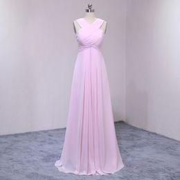 Wholesale News Caps - News Party Dress Girls Bridesmaid Dresses Plus Size Dress 2017 High Quality Arrivals Cross Neck Pink Evening Chiffon Long Prom Dress