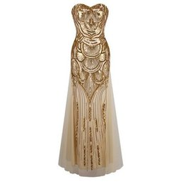 Wholesale Sequin Striped Dress - Women Sexy Strapless Sequins Long Party Dress Low-cut Gold Silver Evening Prom Dress Elegant Ball Gowns Wedding Dresses 161126