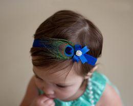 Wholesale Flowers Feathers Headwear - Baby girls feather Headbands Kids Hair Accessories Girls Hair Feathers Fashion Headwear Children Pearl Flower Bowknot Headbands KHA165