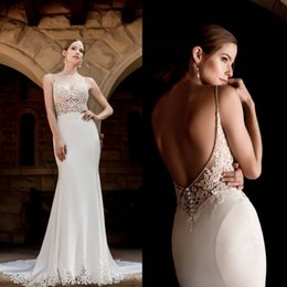 Wholesale Classy Backless Wedding Dresses - Classy Lace 2017 Mermaid Wedding Dresses Spaghetti Neckline Bead Sleeveless Wedding Gowns Sweep Length Backless Button Back Bridal Gown