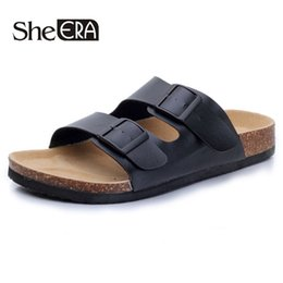Wholesale Green Twill Fabric - Wholesale-She Era 2016 New Men's Shoes Tide Twill Cork Sandals Slippers Summer Beach Sandals Shoes Men Shoes
