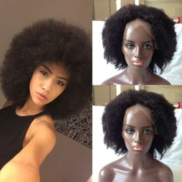 Wholesale Mongolian Kinky Curls - In Stock Afro Curls Mongolian human hair Tiny Afro Kinky Curly Wigs Human Hair Full Lace  Front Wig For Black Women in stock