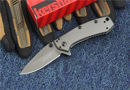 Argentina Kershaw 1555TI Titanio Tactical Knife Hinderer Design Flipper Camping Caza Supervivencia Pocket Knife 8Cr13Mov Utilidad Colección EDC cheap folding knife for survival Suministro