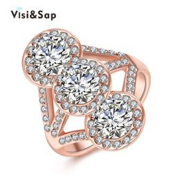Wholesale Antique Cz Ring - Visisap Antique 3 cz stone Wedding engagement Rings For women fashion Jewelry Rose gold color ring for lovers gifts VAKR103