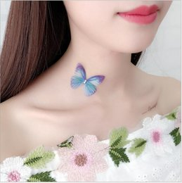 Wholesale Fish Yarn - Green Purple Multicolor Net Butterfly Necklace Stealth Fishing Line All-Match With Tulle Flowers Choker Clavicle Necklace Chain Womens