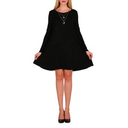 Wholesale Cheap Sexy Clubwear Dresses - 2017 Cheap Spring Autumn 8 Colors O-Neck Long Sleeve Loose A-line with Pocket Sexy Women Dress Vestidos Clothing Clubwear