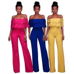 Wholesale Sale Chiffon Black Jumpsuit - Sexy Floral Lace Drape Off Shoulder Long Wide Leg Jumpsuit 2017 Sale Women Simple Chiffon Rompers for Club