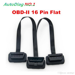 Wholesale Obd Y Cable - High Quality Flat+Thin As Noodle OBDII OBD-II OBD 2 OBD2 16 Pin ELM327 Male To dual Female Y Splitter Elbow Extension Cable