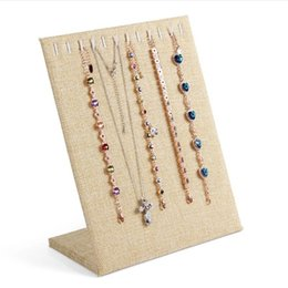 Wholesale Linen Necklace Displays - High Quality Linen Necklace Display Pendants Stand Jewelry Display Shelf Storage Shelves Jewelry Pendants Organizer Showcase