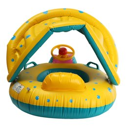 Wholesale Infant Inflatable Pool - Safety Baby Infant Swimming Float Inflatable Adjustable Sunshade Seat Boat Ring Swim Pool Sunshade Baby Swim Seat Float Boat