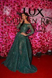 Wholesale Emerald Train Dress - New Luxury Ziad Nakad Emerald Crystal Beaded Evening Pageant Dresses Modest Illusion Long Sleeve Arabic Dubai Prom Gowns Zuhair Murad 017
