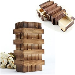 Wholesale Puzzles Tricks - Wholesale- New Chinese Vintage Classic Brain Magic Trick Wooden Puzzle Box Secret Drawer Gift Educational Toys Children Gift Baby Kid Toys