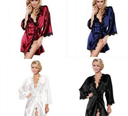 Wholesale Night Apparel - 100pcs Women sexy Nightwear Satin Lace Lingerie Sleepwear Robes Intimate night Gown Robes Kimono Exotic Apparel Babydolls Chemises M039