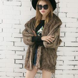 Wholesale Outerwear Woman Winter Fur Mink - Solid Color Faux mink Fur Coat Big Collar Mid Long Coat Women Winter Warm elastic Sleeve Outerwear