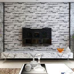 Wholesale Geometric Vinyl Wallpaper - Modern Stone Brick Design Style 3D Vinyl Wallpaper Roll For Living Room Black And Yellow Geometric Squares 3D Desktop Wallpaper