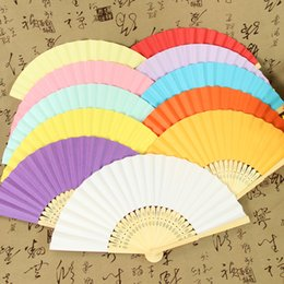 Wholesale Yellow Wedding Party Favors - Wedding Favors Gift DIY Paper Folding Fan, Bride Hand Craft Fan with bamboo ribs Candy Color Drawing Fan+DHL Free Shipping