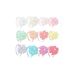 Wholesale Girl Ribbon Flower Headbands - 12 Colors Hair Bows With Pearl Rhienstone Flower Headwear Solid Ribbon Pinwheel Bow Hair Band Girls Hair Accessories Wholesale