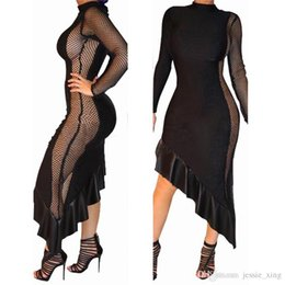 Wholesale Beauty Night Fashion - 2017 Fashion Irregular Ruffles Gauze Hollow Out Dress Women Long Sleeve Stitching Beauty Clothing Black Asymmetrical Mesh Dresses