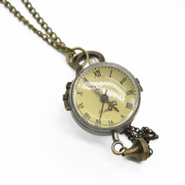 Wholesale Copper Vintage Pocket Watch - Wholesale-Vintage Copper Color Roman Numbers Ball Shape Pocket Watch Quartz Pocket Watch Pendant With Chain Unisex Gift Free Shipping