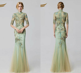 Wholesale Sexy Silk Cheongsam Red - Half Long Sleeves High Neck Prom Dresses Cheongsam Lace Applique Full Embroidery Long Evening Gown Elegant Sequins Formal Dress Evening