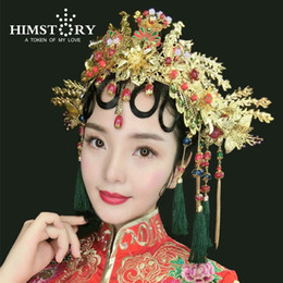 Wholesale Traditional Chinese Red Beads - Chinese Traditional Bridal Headdress Long Red GreenTassels Hairpin Women Girl Beads Flowers Headwear Wedding Hair Jewelry