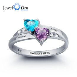 Wholesale Personalized Wedding Set - Personalized Engrave Name DIY Birthstone Love Promise Ring 925 Sterling Silver Heart Rings Free Gift Box (JewelOra RI101781)