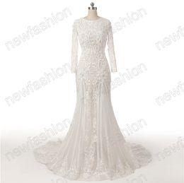 Wholesale Wedding Dress Back Hole - Wedding Dresses with Key Hole Open Back Mermaid Jewel Neck Long Sleeve Beaded Lace Appliques Tulle Bridal Gown