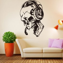 Wholesale Large Vinyl Music Wall Stickers - Skull listening to music personality creative wall stickers living room bedroom decorative waterproof can be removed vinyl stickers