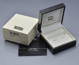 Wholesale Gift Boxes Birthday - Luxury MB gift box Top Grade Wooden Black Wood cufflinks Box with The Warranty Manual for Christmas Birthday Valentine gift packaging