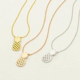 Wholesale fruit pendants - 2017 new fruit long chain clavicle necklace Hollowed out pineapple silver plated Pendants Necklace statement Jewelry wholesale free shipping