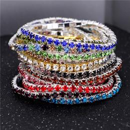 Wholesale Singles Bangles - 3.6mm Single Row Rhinestone Crystal Bracelets Stretch Bracelet Bangle Cuffs Silver chain for Women Crystal Wedding Jewelry Gift Drop shippin