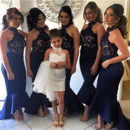 Wholesale Trumpet Skirt Bridesmaid Dresses - Elegant Navy Blue Long Mermaid Bridesmaid Dresses 2016 High Collar Ruffles Skirt Hi Lo Wedding Party Dress Customized