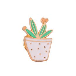 Olla de gato online-Pin Esmalte Set Insignia Para La Ropa Colorida Broches de Dibujos Animados Suculentas Planta En Maceta Flor Cat Leaf Cactus Chaqueta Bolsa DIY Insignia