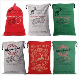 Wholesale Wholesale Large Cotton Handbags - Christmas Gifts Bags Santa Claus Drawstring Bags Reindeers Christmas Sack Bags Monogrammable Elk Handbags Large Canvas Cotton Totes B2329