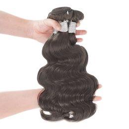 Wholesale Dark Brown Wavy Hair Weft - Unprocessed Remy Human Hair Bundles Weaves Body Wave 3pcs #2 Dark Brown Wet And Wavy Raw Temple Indian Virgin Hair Extension Cheap Queenlike