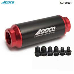 Wholesale Race Car Filters - Universal Car Racing In-Line Fuel Oil Filter With AN10 AN8 AN6 Fittings Adapter Black&Red 40 Micron ADF09901