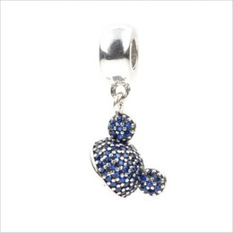 Wholesale Pandora Hat - 2017 New Genuine 925 Sterling Silver Mickey Hat Pendant Beads with Blue CZ for Women Fit Pandora Charms Bracelet Necklace DIY Jewelry Making