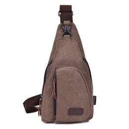 Wholesale College Bags Canvas - High quality Small Chest Canvas Bags Vintage Man Messenger Bags For Waist Chest Casual Outdoor Hiking Sport Casual Male Retro Shoulder Bag