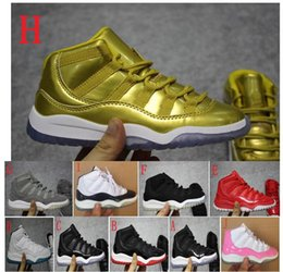 Wholesale Toddlers Gold Sneakers - Kids Retro 11 Space Jam Bred Concords Basketball Shoes Children Boy Girl 11s White Pink Gray Suede Sneakers Toddlers Birthday Gift
