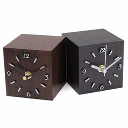 Wholesale Led Cube Tables - Wholesale-New Wood Black Brown Retro Vintage Wooden Cube Clock Table Clock Desktop Gift Home Decor For Creative