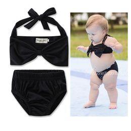 Wholesale Princess Swim Wear - Kids Girls Bikini Swimwear Baby Girls Bow Swimsuit Toddler Top + Pants 2pcs Set 2017 Princess Bathing Tankini Swim Wear Beach Clothes B135
