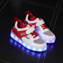 Wholesale Kids Flashing Shoes - LED Light up Shoes Colorful Flashing Baby Boys Girls USB Charge Fluorescent Couple Shoes Party Running Casual Shoes for Kids