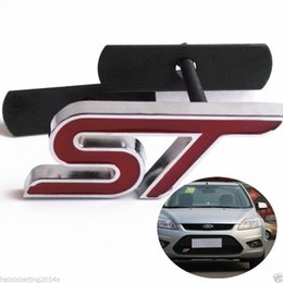 Wholesale St Grill Badge - Car Racing Metal 3D Red ST Logo Front Exterior Hood Grill Grilles Emblem Badge