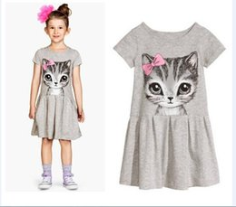 Wholesale Girls Simple Cotton Dresses - Girls bow cat cat dress dress children's cotton cat skirt summer new children's skirt simple girl skirt