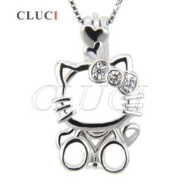 Wholesale Lovely Fashion Jewelry Wholesale - 3pcs AIM Wholesale Fashion Jewelry Charm New Lovely Cat Shape with Zircon 925 Sterling Silver Locket Pendant 21.28*12.28*8.94mm