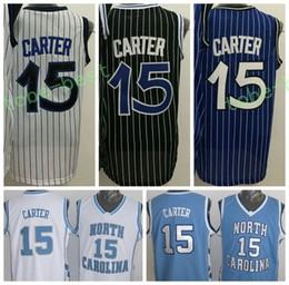 Wholesale North Blue - 2017 Men 15 Vince Carter Jersey Throwback North Carolina Vince Carter College Shirts Uniforms Team Blue Black White Purple High Quality
