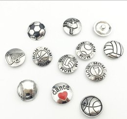 Wholesale Volleyball Charms - 8 Sports Styles Metal Snap Button Charms Baseball Volleyball Basketball Mom Dance Snap Buttons Fit For 18mm DIY Snap Jewelry