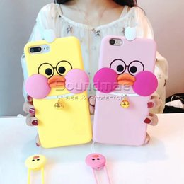 Wholesale Duck Back - Hyaluronic acid bell duck soft silicone squeezed case for iphone 8 7 plus cartoon case with Hanging rope For iphone 6 6s Plus back cover